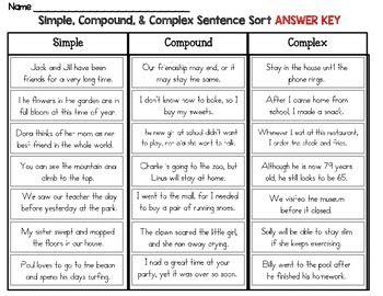 simple compound  complex sentence sort distance