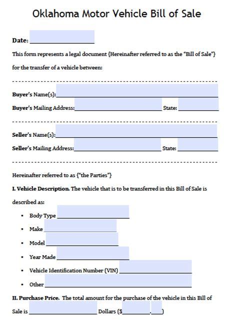 oklahoma dps motor vehicle bill  sale form