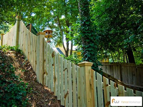 How To Build Backyard Fence by Picket Fence On Hill Search New Landscaping