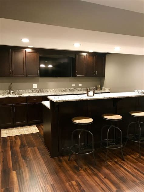 finished basement kitchen alaskan white granite  dark