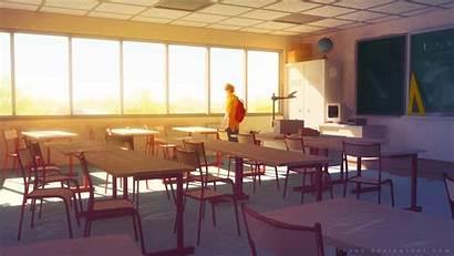 Anime Empty Class Alone Classroom Background Sylvain