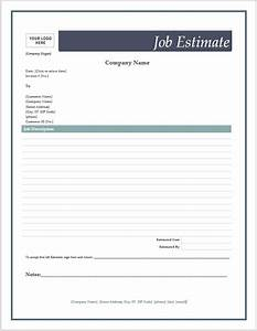 free job estimate forms microsoft word templates With job estimates templates