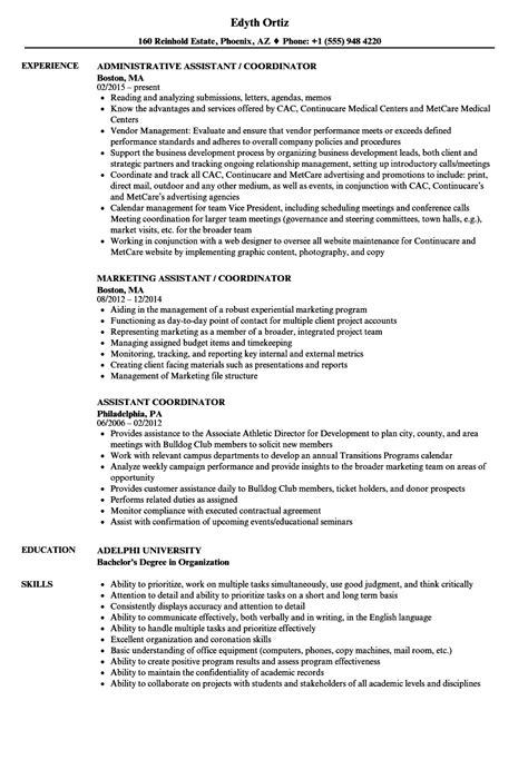 assistant coordinator resume samples velvet jobs