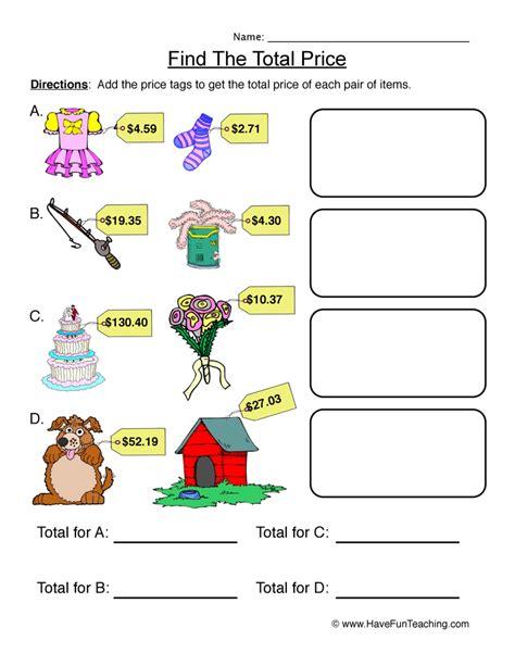 find  total price pictures worksheet  fun teaching