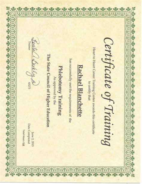 phlebotomy certificate