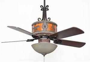 Copper canyon sheridan leather ceiling fan rustic