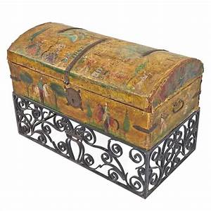 Salvador Corona Hand Painted Leather Trunk With Wrought