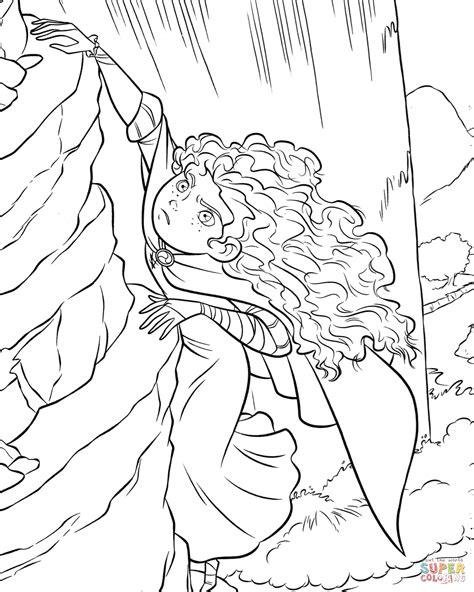 Kleurplaat Klimmen by Brave Merida Is Climbing The Rock Coloring Page Free