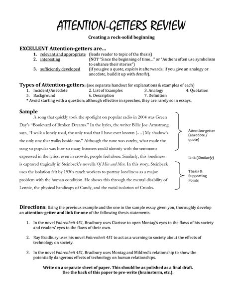 Attention Grabber For Essays Creative Writing Using Five Senses