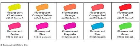 fluorescent l color chart fluorescent dyes chart images