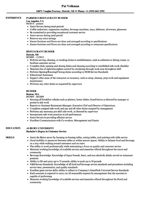 Busser Resume by Busser Description For Resume