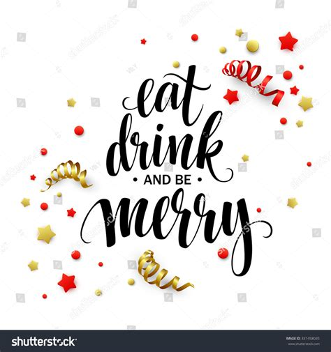 Poster Lettering Eat Drink Be Merry Stock Vector 331458035