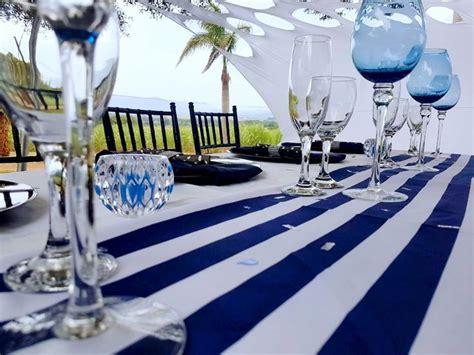 black navy blue  white party decor atshongaevents