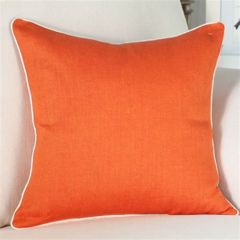 Orange Linen Cushion Cover With Piping By Jodie Byrne