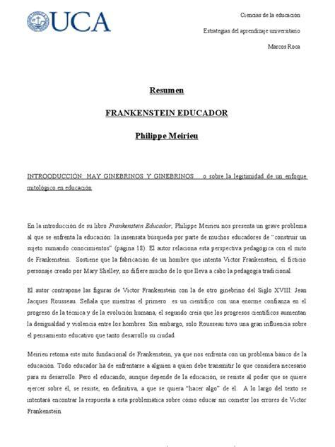 resumen frankenstein educador