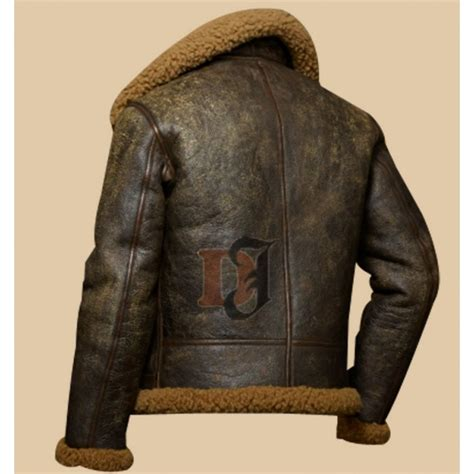 buy military distressed brown dover shearling bomber jacket