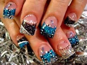Acrylic nails with rhinestones glitter cute nail