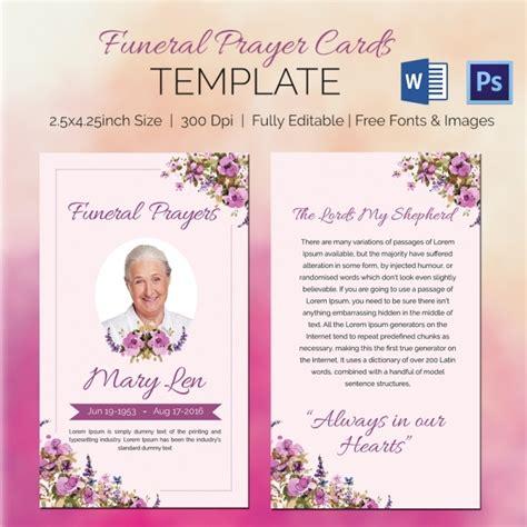funeral prayer cards word psd format
