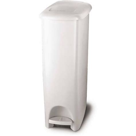 Slim Bathroom Trash Can With Lid by Rubbermaid 11 25 Gallon Slim Fit Wastebasket White