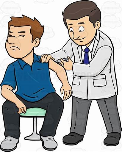 Clipart Doctor Patient Vaccine Injection Cartoon Male
