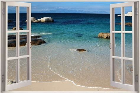 3d Window Ocean View Blue Sea Home Decor Wall Sticker: Huge 3D Window Sea Beach Shore View Wall Stickers Mural