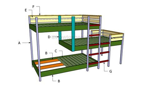 triple bunk bed plans howtospecialist   build