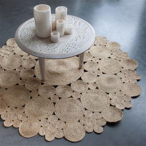 tapis mandala rond en jute naturelle artisanat fait main