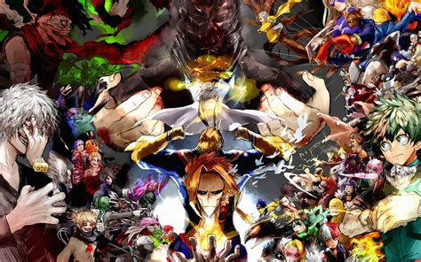 Wallpaper Boku no Hero Academia, Antagonists, Main Heroes ...
