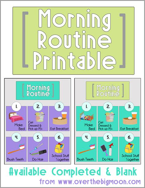 morning routine printables 832 | Morning Routine Button