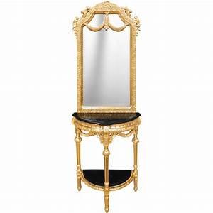 Console Demi Lune Avec Miroir Style Baroque Bois Dor Et
