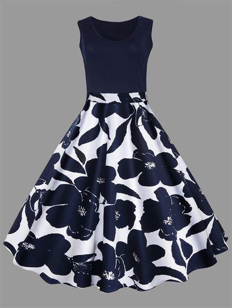 lace fit and flare dress dresses purplish blue 5xl floral printed midi plus size
