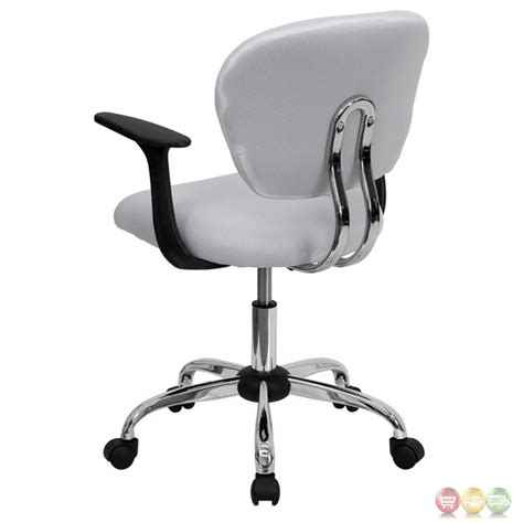 mid back white mesh task chair with arms and chrome base h