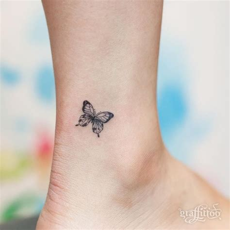 tiny butterfly tattoo  ankle