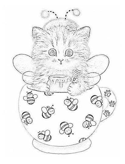 Coloring Cat Pages Adult Teacup Printable Kittens