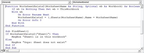 determine if a sheet exists in a workbook using vba in