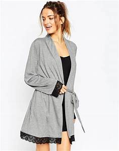 asos lace trim jersey robe in gray lyst With www asos com robe