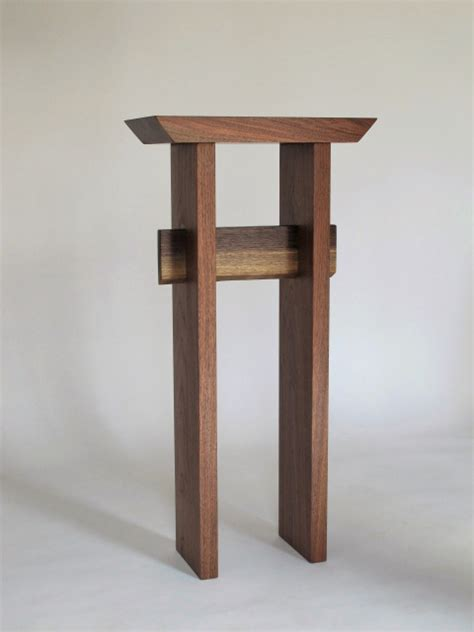 walnut statement entry table small tall table  narrow