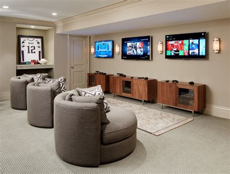 Framed Game Room With L Andscape Home Theater Southwestern