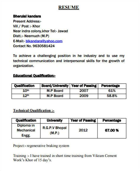 resume format for diploma students 52 resume format sles sle templates