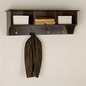 Espresso Wooden Wall Mount Coat Rack With Shelving Unit