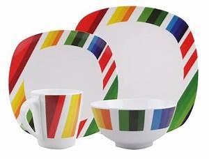 Geschirr Eckig Weiß : melamin geschirr design color strips weiss bunt eckig melamin geschirr ~ Orissabook.com Haus und Dekorationen
