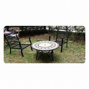 Table Fer Forgé Jardin : table de jardin basse ronde hawai aspect fer forg et mosa que noir beige ~ Teatrodelosmanantiales.com Idées de Décoration