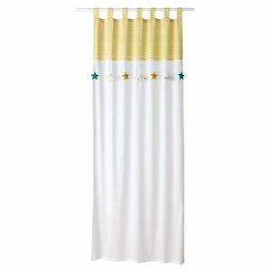 Rideau Jaune Et Blanc : rideau passants en coton blanc jaune 110 x 250 cm gaston maisons du monde ~ Teatrodelosmanantiales.com Idées de Décoration