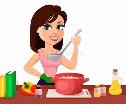Cooking Cartoon Woman Kitchen Self Cucina Enjoy