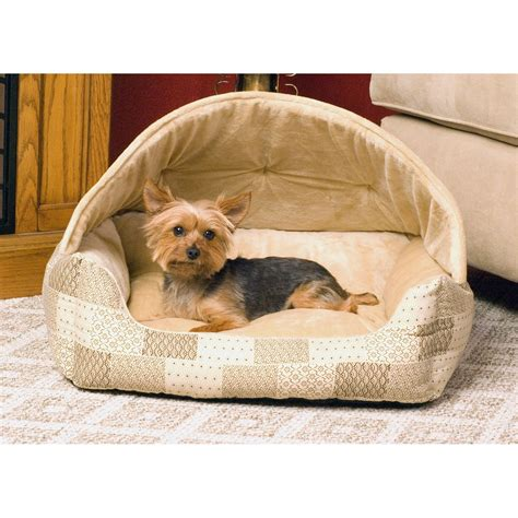 petco pet beds k h lounge sleeper hooded pet bed in patchwork petco
