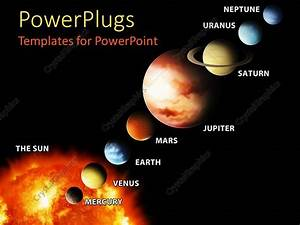 Powerpoint Template  Sun And Planets Aligned And Labeled  Solar System  26767
