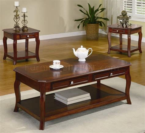 warm brown cherry finish traditional pc coffee table set