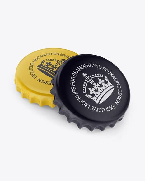 Present your booklet or flyer design the way people will love! Two Matte Bottle Caps PSD Mockup Half Side View High-Angle ...