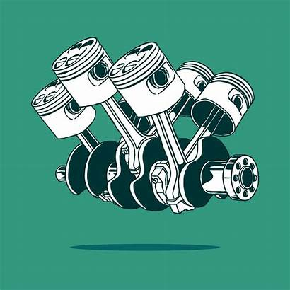 Piston Engine Vector Drawing Engineering Gear Clipart