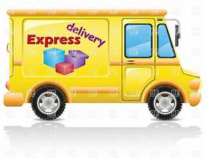 Yellow minibus profile - express delivery van Royalty Free ...